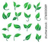 green leaves icons set. | Shutterstock .eps vector #276003089