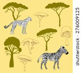 cheetah  zebra and savanna... | Shutterstock .eps vector #276009125