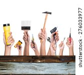 hands with construction tools.... | Shutterstock . vector #276033977
