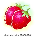 two strawberry  | Shutterstock .eps vector #27608878