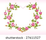 romantic pink rose design heart ... | Shutterstock .eps vector #27611527