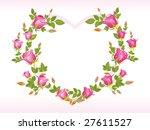 romantic pink rose design heart ... | Shutterstock .eps vector #27611527