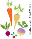 five cartoon root vegetables... | Shutterstock .eps vector #276121175