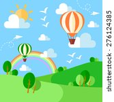 landscape with hot air balloons ... | Shutterstock .eps vector #276124385