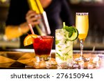colorful cocktail on top of the ... | Shutterstock . vector #276150941