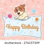 dog happy birthday    Shutterstock .eps vector #276157349