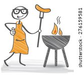 bratwurst cooking on grill  ... | Shutterstock .eps vector #276159581
