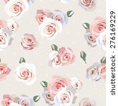 seamless polka dot and roses... | Shutterstock .eps vector #276169229