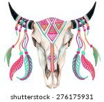 watercolor buffalo skull  hand... | Shutterstock . vector #276175931