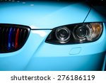 Blue Car With Headlight  Grill...