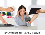 Small photo of business woman overwhelmed with so much work