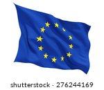 Waving Flag Of European Union...