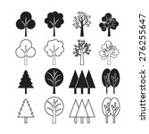 trees vector icon set | Shutterstock .eps vector #276255647