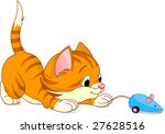 Stock vector image of kitten playing with toy mouse 27628516