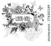 vintage monochrome floral... | Shutterstock .eps vector #276302189
