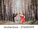 beautiful woman and man in a... | Shutterstock . vector #276302495