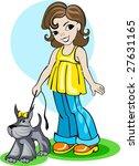 Stock vector a girl take a walk with a dog 27631165