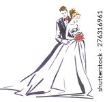 wedding couple hugging... | Shutterstock . vector #276316961