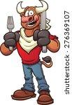 hungry cartoon bull. vector...