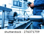 man operating cnc drilling and... | Shutterstock . vector #276371759