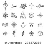 old school tattoo icon set | Shutterstock .eps vector #276372389
