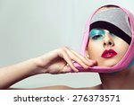 closeup portrait of beautiful... | Shutterstock . vector #276373571