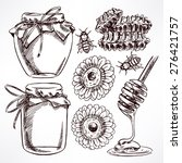 sketch honey set. jars of honey ... | Shutterstock .eps vector #276421757