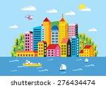 city illustration in a flat... | Shutterstock .eps vector #276434474