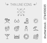 Travel Thin Line Icon Set For...