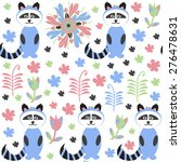 racoon seamless pattern and... | Shutterstock .eps vector #276478631