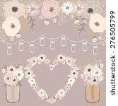 wedding flower   mason jar... | Shutterstock .eps vector #276505799