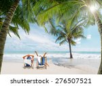 couple of tourists on the beach ... | Shutterstock . vector #276507521