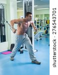 the guy to the gym pumping body.... | Shutterstock . vector #276543701