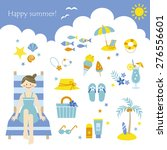 young girl and summer elements | Shutterstock .eps vector #276556601