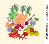 set of vegetables for a healthy ... | Shutterstock .eps vector #276567569
