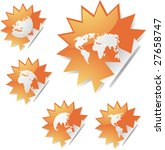 world map icons on spiky... | Shutterstock . vector #27658747