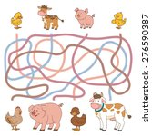 maze game  farm animals ... | Shutterstock .eps vector #276590387