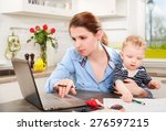 young mother working with her... | Shutterstock . vector #276597215