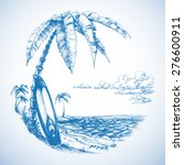 surfing background  palm trees... | Shutterstock .eps vector #276600911