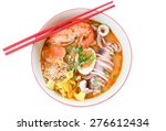Tom Yum Seafood Noodle Isolated ...