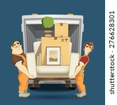 two loaders movers man holding... | Shutterstock .eps vector #276628301