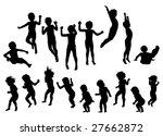 jumping children silhouette.... | Shutterstock .eps vector #27662872