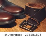 Classic Brown Shoes And Belt O...