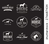 Stock vector vector set of premium horse meat labels badges and design elements with grunge textures 276687434