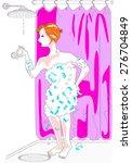 woman has her shower... | Shutterstock . vector #276704849