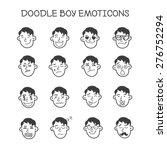 vector cute  doodle boy's heads ...   Shutterstock .eps vector #276752294