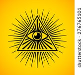 all seeing eye symbol on yellow ... | Shutterstock .eps vector #276765101