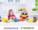 little girl and boy preparing... | Shutterstock . vector #276808034