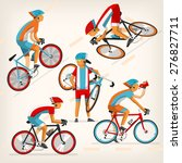 set of colorful bicycle riders... | Shutterstock .eps vector #276827711