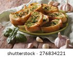 toasts with basil and garlic...   Shutterstock . vector #276834221